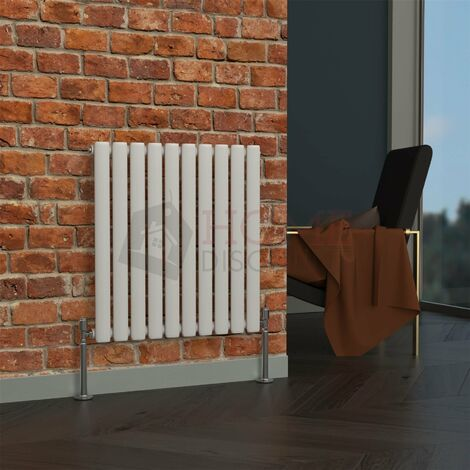 Milan Oval Single Horizontal Radiator, 635 x 590mm, White