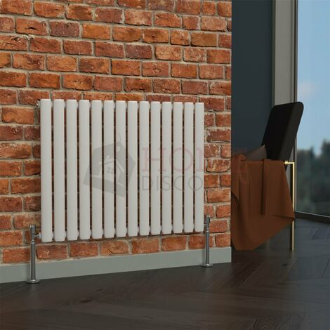 Milan Oval Single Horizontal Radiator, 635 x 826mm, White