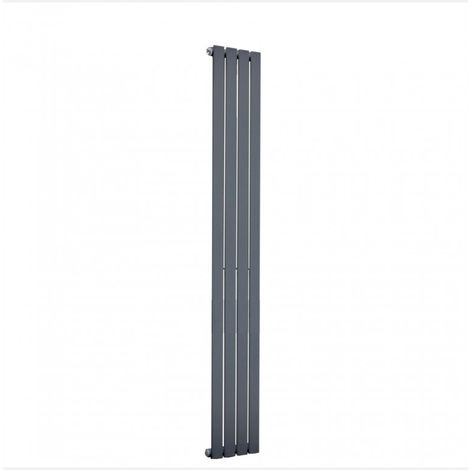 Milan Oval Single Vertical Radiator, 1600 x 236mm, Black