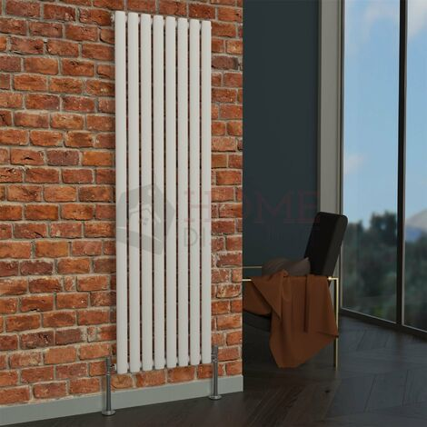 Milan Oval Single Vertical Radiator, 1600 x 472mm, White