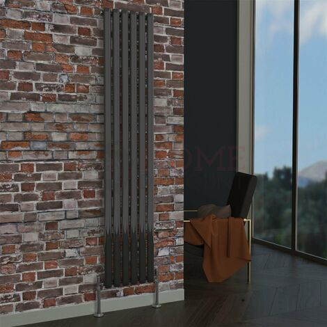Milan Oval Single Vertical Radiator, 1780 x 354mm, Black