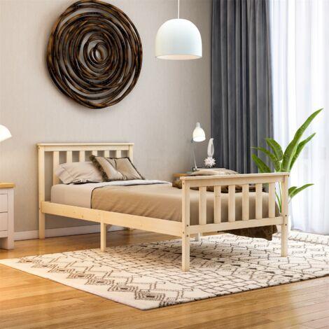 Milan Single Wooden Bed, High Foot, Pine