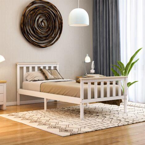 Milan Single Wooden Bed, High Foot, White & Pine