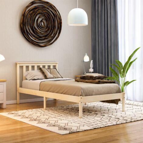 Milan Single Wooden Bed, Low Foot, Pine