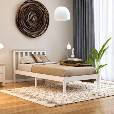 Milan Single Wooden Bed, Low Foot, White & Pine