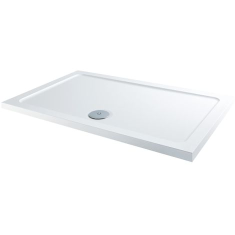Milano 1000 x 800mm Low Profile Rectangular Walk-in Shower Tray with a White Finish