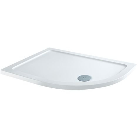 Milano 1200 x 800mm Low Profile Right Hand Offset Quadrant Curved Shower Tray with a White Finish