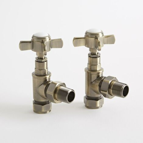 Milano - 15mm Brushed Gold Angled Heated Towel Rail Radiator Valves - Pair