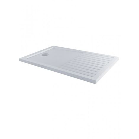 Milano 1600 x 800mm Low Profile Rectangular Walk-in Shower Tray and drying area with a White Finish