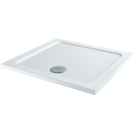 Milano 700 x 700mm Low Profile Square Walk-in Shower Tray with a White Finish