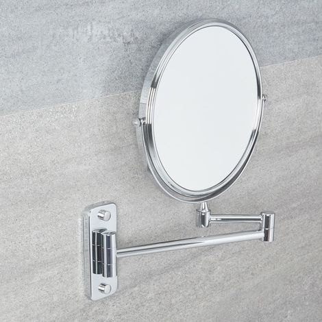 """Milano 8"""" Chrome Wall Mounted Round Double Sided Extendable Bathroom Shaving Vanity Mirror with 2x Magnification"""