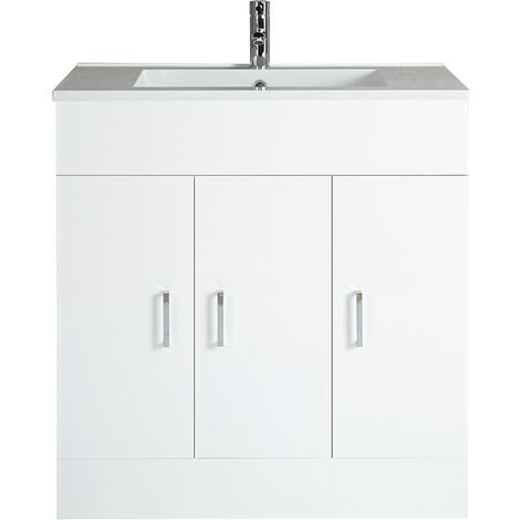 Milano 800mm White Gloss Bathroom Furniture Vanity Unit with Ceramic Basin Sink with 1 Tap Hole - 3 Cupboards