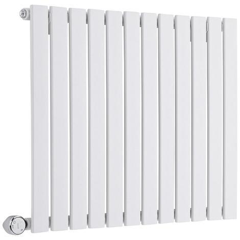 Milano Alpha Electric – 800W Modern White Horizontal Single Panel Designer Radiator – 635mm x 840mm