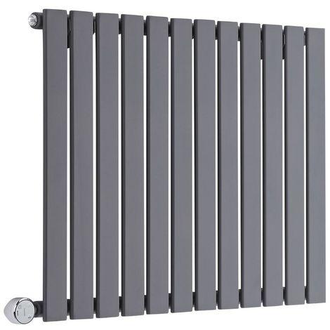 Milano Alpha Electric - Horizontal Single Flat Panel Slim Column Designer Radiator - Anthracite - 635 x 840mm