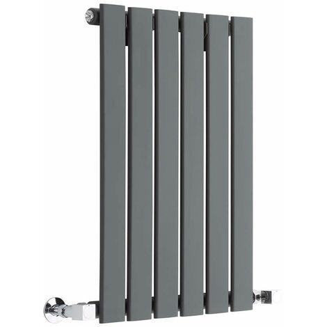Milano Alpha - Horizontal Slim Column Flat Panel Designer Radiator - Anthracite - 635 x 420 mm Single Panel