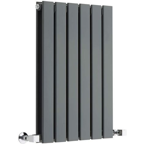 Milano Alpha - Horizontal Slim Column Flat Panel Designer Radiator - Anthracite - 635mm x 420mm Double Panel