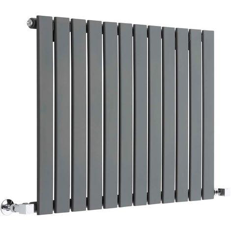 Milano Alpha - Modern Anthracite Horizontal Single Flat Panel Designer Radiator – 635mm x 840mm