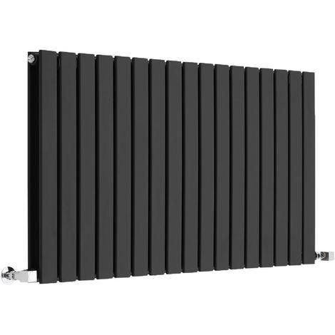 Milano Alpha - Modern Black Horizontal Double Flat Panel Designer Radiator – 635mm x 1190mm