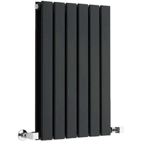 Milano Alpha - Modern Black Horizontal Double Flat Panel Designer Radiator – 635mm x 420mm