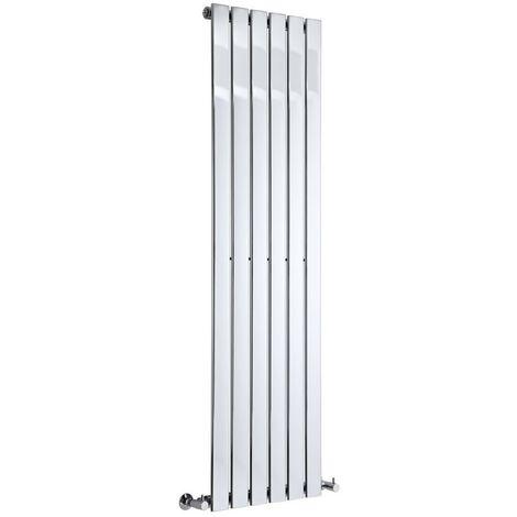 Milano Alpha - Modern Chrome Vertical Column Single Flat Panel Designer Radiator – 1600mm x 450mm