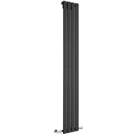Milano Alpha - Vertical Flat Panel Slim Column Designer Radiator - High-Gloss Black - 1780 x 560 mm - Double Panel