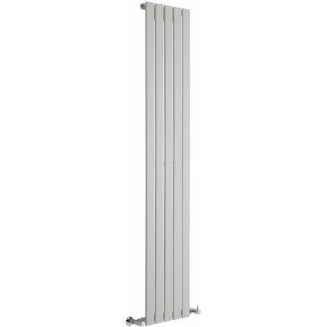 Milano Alpha - Vertical Flat Panel Slim Column Designer Radiator - White - 1600 x 490 mm - Double Panel