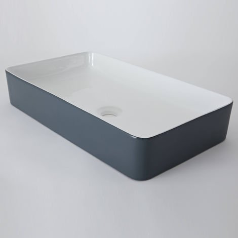 Milano Altcar - Modern Stone Grey Ceramic Rectangular Countertop Bathroom Basin Sink - 610mm x 350mm