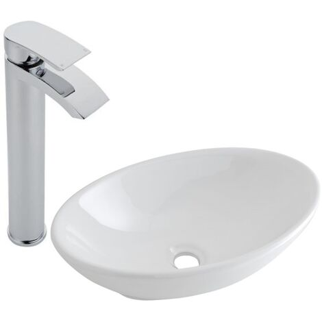 Milano Altham - Modern White Ceramic 520mm x 320mm Oval Countertop Bathroom Basin Sink and High Rise Mono Basin Mixer Tap