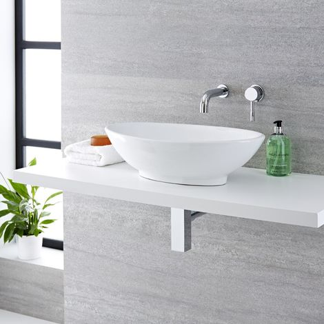 Milano Altham - Modern White Ceramic 520mm x 320mm Oval Countertop Bathroom Basin Sink and Wall Mounted Basin Mixer Tap