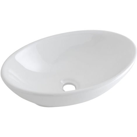 Milano Altham - Modern White Ceramic Oval Countertop Bathroom Basin Sink – 520mm x 320mm