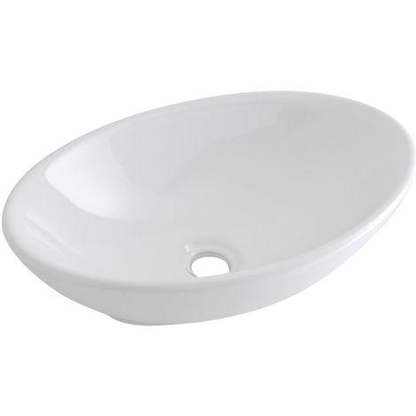 Milano Altham Oval White Ceramic Counter Top Basin - 520 x 320 mm