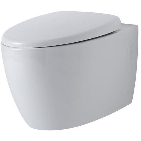 Milano Altham - Round Wall-Hung White Ceramic Rimless Toilet - One-Piece Suspended WC and Soft Close Seat