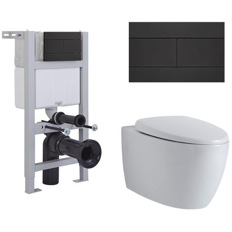 Milano Altham - White Ceramic Modern Bathroom Wall Hung Round Toilet WC with Short Wall Frame Cistern and Flush Plate