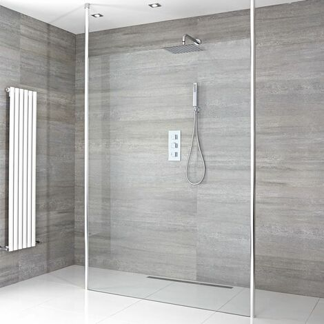 Milano Alto - 700mm Floating Glass Walk In Wet Room Shower Enclosure with Screen  Profile  Floor to Ceiling Poles and Shower Drain - Chrome