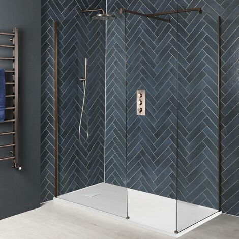 Milano Amara - Corner Walk In Wet Room Shower Enclosure with Screens Support Arms and White Slate Effect Tray - Brushed Copper