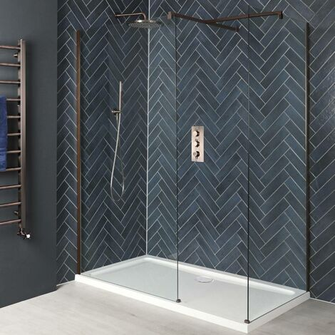 Milano Amara - Corner Walk In Wet Room Shower Enclosure with Screens Support Arms and White Tray - Brushed Copper