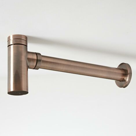 Milano Amara - Modern Exposed Bottle Trap for Wall Hung or Washstand Basin - Brushed Copper