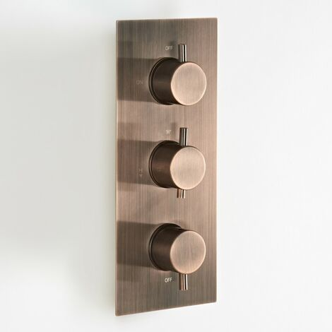 """main image of """"Milano Amara - Modern Triple Diverter Thermostatic Mixer Shower Valve with 3 Outlets - Brushed Copper"""""""