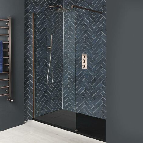 Milano Amara - Recessed Walk In Wet Room Shower Enclosure with Screen Support Arm and Graphite Slate Effect Tray - Brushed Copper