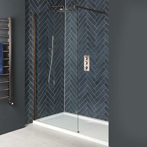 Milano Amara - Recessed Walk In Wet Room Shower Enclosure with Screen  Support Arm and White Tray - Brushed Copper