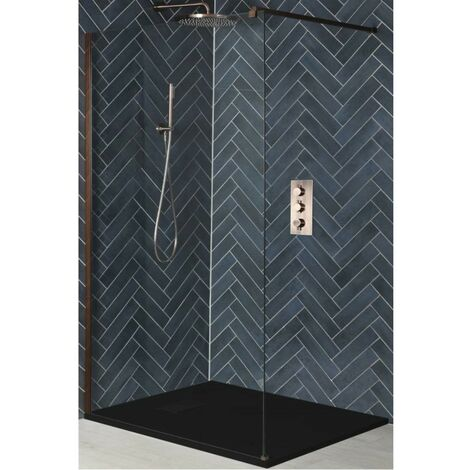 Milano Amara - Walk In Wet Room Shower Enclosure with Screen  Support Arm and Graphite Slate Effect Tray - Brushed Copper