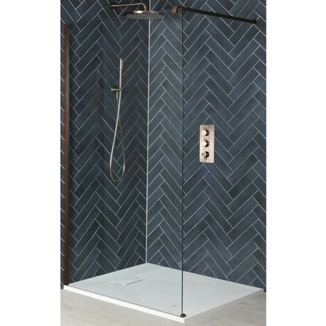 Milano Amara - Walk In Wet Room Shower Enclosure with Screen  Support Arm and White Slate Effect Tray - Brushed Copper