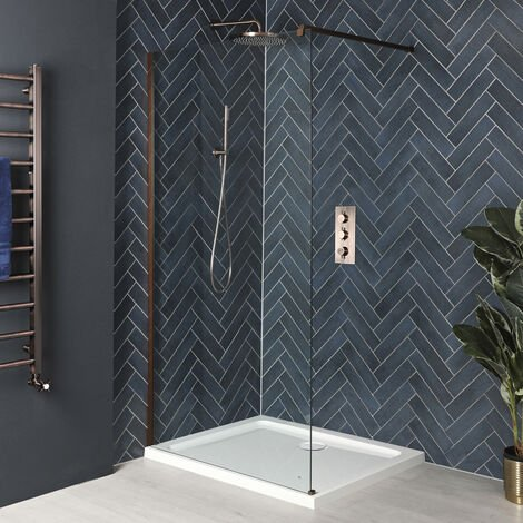 Milano Amara - Walk In Wet Room Shower Enclosure with Screen  Support Arm and White Tray - Brushed Copper