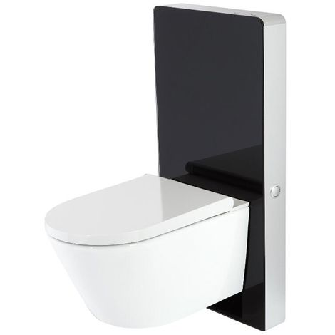 Milano Arca - Black 483mm Bathroom Toilet WC Unit with Wall Hung Japanese Bidet Pan, Cistern and Seat