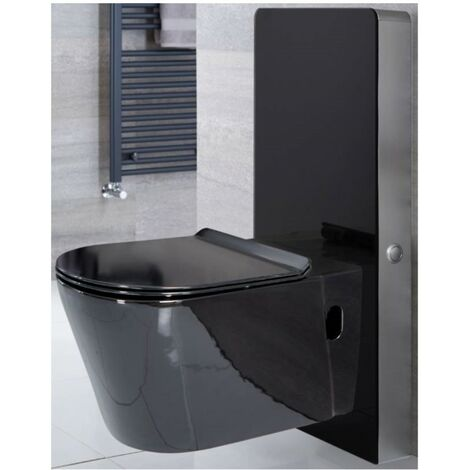 Milano Arca - Black 483mm Bathroom Toilet WC Unit with Wall Hung Pan, Cistern and Soft Close Seat