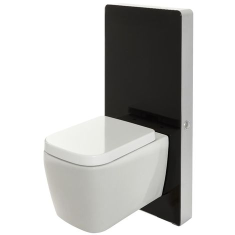 Milano Arca - Black 483mm Bathroom Toilet WC Unit with Wall Hung Square Pan, Cistern and Soft Close Seat