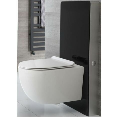 Milano Arca - Black 483mm Bathroom Toilet WC Unit with White Wall Hung Rimless Pan, Cistern and Soft Close Seat