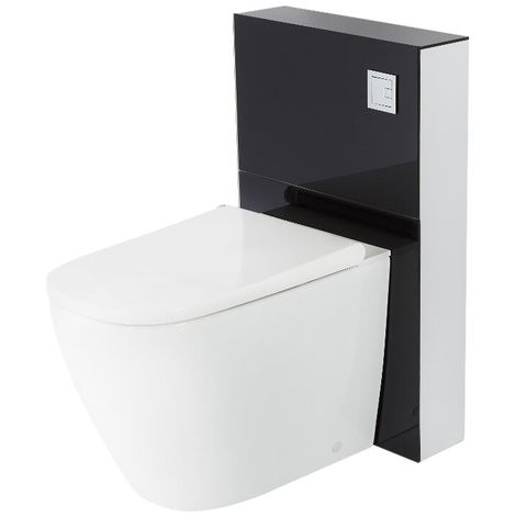 Milano Arca - Black 504mm Bathroom Toilet WC Unit with Back to Wall Japanese Bidet Pan, Cistern and Seat
