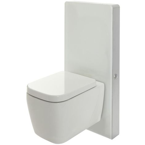 Milano Arca - White 483mm Bathroom Toilet WC Unit with Wall Hung Square Pan, Cistern and Soft Close Seat