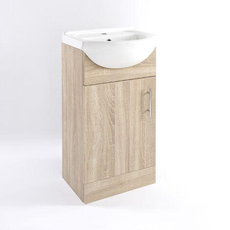 Milano Arch - 455mm Classic Oak Bathroom Furniture Vanity Unit with Ceramic Basin Sink